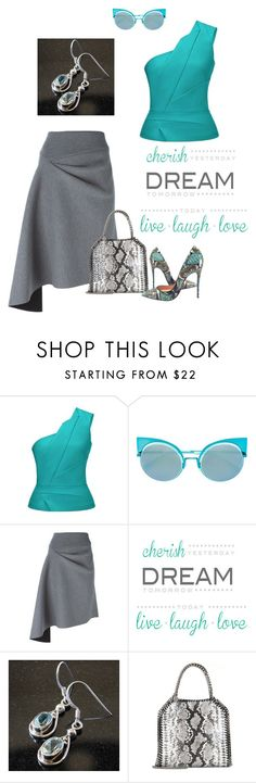 """Blue Topaz Earrings"" by bellastreasure on Polyvore featuring Roland Mouret, Fendi, DKNY, Brewster Home Fashions, STELLA McCARTNEY and Christian Louboutin"