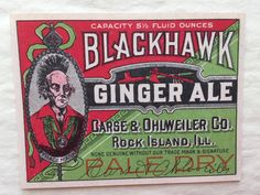 Vintage 1920's Unused Blackhawk Ginger Ale Label - Product Label, Ephemera, Collectibles - Perfect to Frame for Kitchen or Mancave!