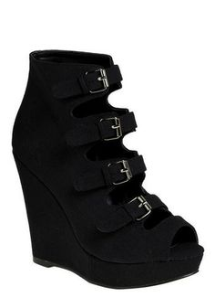 gorgeous black buckle wedge