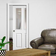 Single Pocket Canterbury 2 Light White sliding door system in three size widths with Clear Glass. #whitedoor #pocketdoor #internalglazeddoor