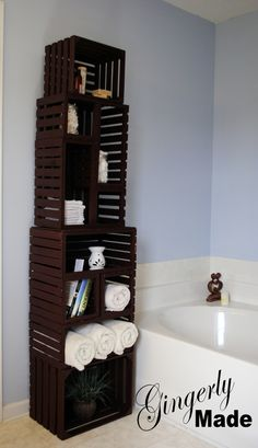 Wood crate linen cabinet in Organization Products & Ideas