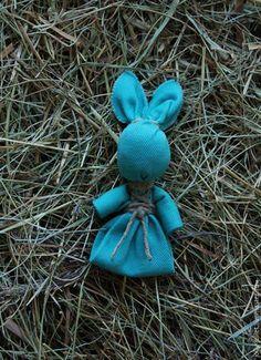 Купить Bunny - игрушка, заяц, бирюзовый джинс, джинс