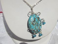 Blue Howlite Wire Wrapped Silver Necklace by MoonwitchDesigns, $20.00
