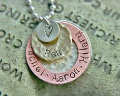 Hand Stamped Family Necklace  Name Necklace  Mixed by jjewelry1, $47.00