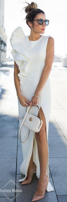 White Ruffled Dress // Fashion Look by Hello Fashion