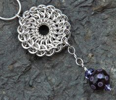 Chainmaille Star Necklace with Chocolate and Lavender Lampwork