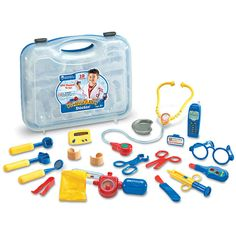Kids build vocabulary through imaginative play with this Learning Resources Pretend & Play Doctor Play Set. Doctor Play Set, Playing Doctor, Thermometer, Smartphone, Anxiety In Children, Kits For Kids, Dramatic Play, Toys R Us, Kids Toys