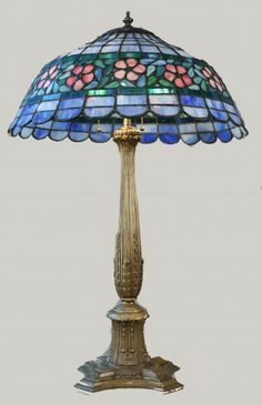 antique lamps | Antique Early American Glass Shade Table Lamp | Art Deco Decor Custom ...
