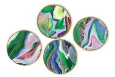 Green Marbled Clay Coasters
