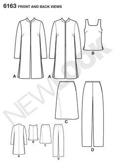 Womens Jacket, Top, Pants Sewing Pattern 6163 New Look: