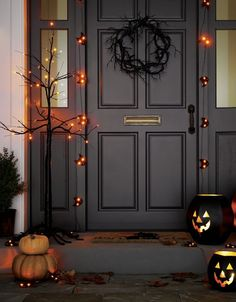 Line your sidewalk or porch with these friendly pumpkin lanterns, with cutout features and shaped to resemble carved jack o'lanterns. Pair with other Halloween decor for a festive entryway.