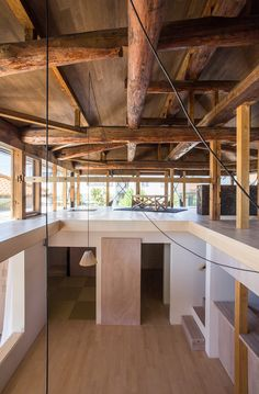 Image 23 of 30 from gallery of House NI / Architect. Courtesy of Architect Modern Home Interior Design, Interior And Exterior, Beam Structure, Lake Cottage, Space Architecture, Architect House, Wooden House, Cafe Design, Javanese