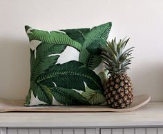 Tommy Bahama // Palm Print Cushion Cover // 45 x // Jungle Green // As Seen at The Sydney Writers Festival 2013 via Etsy Tropical Style, Tropical Vibes, Tropical Decor, Tommy Bahama, Printed Cushions, Palm Print, Chair Fabric, Dream Decor, Soft Furnishings