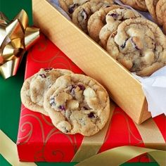 Tart cranberries and sweet white chocolate chips--the perfect cookie for the holidays.