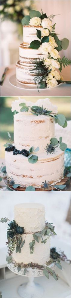Greenery eucalyptus wedding cakes #green #wedding #weddingideas #dpf #deerpearlflowers / see more ❤️ http://www.deerpearlflowers.com/eucalyptus-wedding-decor-ideas/