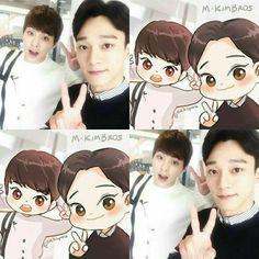 Xiumin and Chen Chanyeol, Exo Chen, Kyungsoo, Kaisoo, Chanbaek, Exo Ot12, Exo Memes, Chibi, K Pop