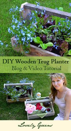 Tutorials on how to make and convert wooden trugs into planters - creates a rustic and stunning display!