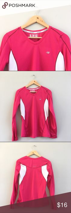 New Balance Lightning Dry Running Shirt Sporty hot pink Lightning Dry activewear shirt from New Balance will keep you warm and dry on your cold weather runs! Bust: 17in, shoulder to hem: 23in. A couple small snags in the back (pictured), otherwise good condition. New Balance Tops Tees - Long Sleeve