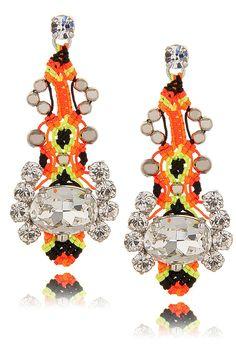 LK DESIGNS NEON PASSION Crystal Thread Earrings