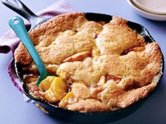 Bourbon Peach cobbler. Just made this and love this one!!! Top it with vanilla ice cream... The cast iron skillet is a great touch too :)