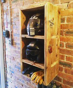 4 SALE. Motorbike Motorcycle helmet storage unit. 2 compartments for helmets, 1 for gloves etc. With antique brass key hooks. Man cave, garage, bike