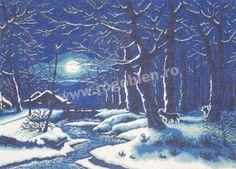 Cod produs 6.78 Noapte feerica (albastru) Culori: 8 Dimensiune: 30 x 40cm Pret: 69.19 lei Lei, Painting, Embroidery, Painting Art, Paintings, Painted Canvas, Drawings
