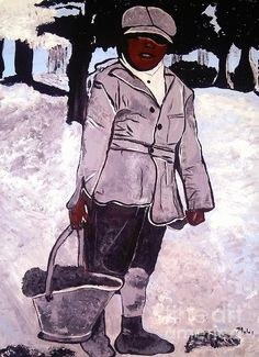 A boy carrying coal. My painting based on a photo c19001