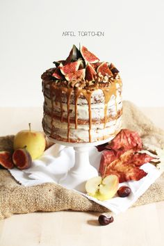 Apple buttermilk cake with white chocolate cream & caramel sauce