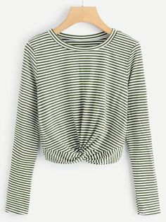 Casual Striped Regular Fit Round Neck Long Sleeve Pullovers Black and White Regular Length Twist Hem Striped Tee Geile T-shirts, Mode Blog, Latest T Shirt, Plus Size T Shirts, Tee Online, Pullover, Sweatshirt, Mode Inspiration, Striped Tee