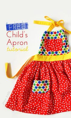 child's apron children's apron tutorial / ann kelle Capozzi , is this the style you like?children's apron tutorial / ann kelle Capozzi , is this the style you like? Child Apron Pattern, Apron Pattern Free, Sewing Patterns Free, Free Sewing, Sewing Tutorials, Sewing Crafts, Sewing Projects, Childrens Apron Pattern, Kids Apron Patterns