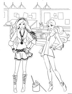 Un Beau Coloriage De Barbie Assise Calorie Sa Tenue Et Longue