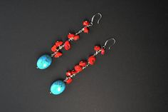 Long red and blue Turquoise earrings Semi-Precious Gemstone