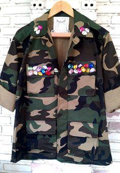 Spring Camo Jacket / Rhinestone Camo Jacket / Reworked Military Camouflage Jacket Size: M by KodChaPhornJacket465 on Etsy