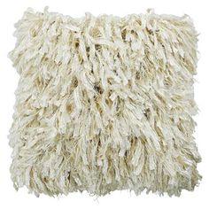 Shaggy Cushion with Pad in Cream   ACHICA
