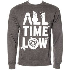 All Time Low Christmas Jumper (Grey) ($44) ❤ liked on Polyvore featuring tops, sweaters, shirts, band shirt, lullabies, grey sweater, christmas sweater, jumpers sweaters, grey jumper and gray sweater