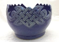Cobalt Blue Celtic Knot Yarn Bowl by KilikaDesigns on Etsy, $120.00