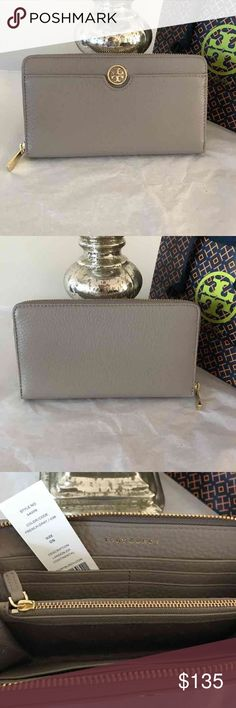 "Tory Burch Wallet New with tag authentic Tory Burch Landon Zip Continental Wallet in Equestrian In French Grey. Price is Firm!  * Style 34009  * Retail $195.  * Pebble Leather.  * Zipper around closure.  * Gold tone hardware.  * Front pocket exterior.  * Inside 1 centre zip compartment, 8 card slots, 2 bill pockets and 2 multifunction pockets.  * Approx 7.5"" Tory Burch Bags Wallets"