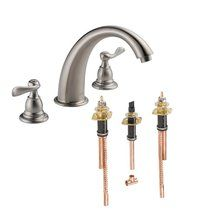 Buy the Delta Chrome Direct. Shop for the Delta Chrome Windemere Deck Mounted Roman Tub Filler Trim and Valve and save. Brass Faucet, Faucet Handles, Bathroom Fixtures, Bathroom Lighting, Light Bathroom, Master Bathroom, Roman Tub Faucets, Rainfall Shower