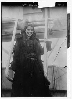 """Aviator Katherine """"Air Queen"""" Stinson (1891-1977) in Tokyo, 1916. On July 12, 1912, Katherine Stinson became the fourth American woman to earn a pilot's license. As the """"Flying Schoolgirl"""" she toured the country and thrilled thousands of viewers with her stunts at county and state fairs.  In a plane she had built herself, she became the first woman and fourth pilot in the United States to master the loop-the-loop, a stunt that was considered particularly dangerous. She was the first person…"""