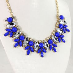 Royal blue Bubble Bib Necklace Handmade Bubble by OnlyPearl, $15.40