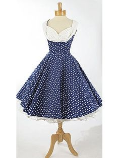 polka dot dress with fabulous rhinestone shelf bust