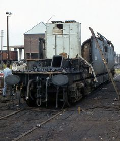 The sad sight of 55006 being broken up at Doncaster Works, July Derelict Places, Abandoned Places, Electric Locomotive, Diesel Locomotive, Abandoned Cars, Abandoned Vehicles, Union Pacific Train, Railway Posters, British Rail