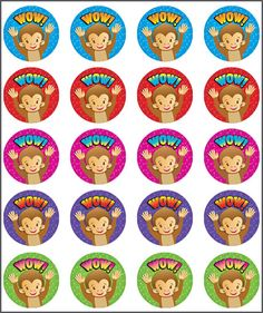 Teacher stickers for sale online. Reward and merit stickers available, purchase them online today. Teacher Stickers, Printable Stickers, Monkey, Packing, Classroom, Printables, English, Scrapbook, School