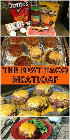 hamburger meat recipes Our family LOVES this delicious combination of tacos and meatloaf! The Best Taco Meatloaf is such an easy meal to make. Just mix up ground beef, ground por Taco Meatloaf, Meatloaf Recipes, Pork Recipes, Gourmet Recipes, Mexican Food Recipes, Low Carb Recipes, Cooking Recipes, Healthy Recipes, Cooking Ribs