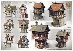 ArtStation - The Cover House Designs, Gian Andri Bezzola Dark Fantasy, Fantasy Town, Fantasy House, Fantasy Map, Medieval Fantasy, Building Concept, Building Art, Building Design, Casa Medieval Minecraft