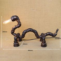 Novelty Machine Age Pipe Steampunk Dragon Single Light Retr Table / Desk Lamp