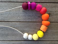 Handmade Polymer Clay Necklace - Ombre - White to Purple