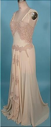c. 1930's/40's Peignoir Bridal Honeymoon Set of Blush Sheer Crepe and Lace
