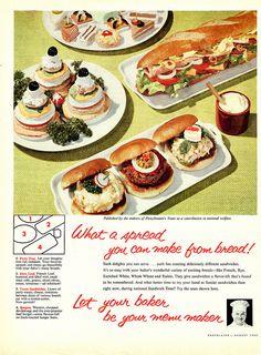 Make A Spread Of Bread! #food #vintage #bread #party #ads Retro Recipes, Vintage Recipes, Real Food Recipes, Great Recipes, Cooking Recipes, Party Catering, Party Trays, Weird Food, What To Cook