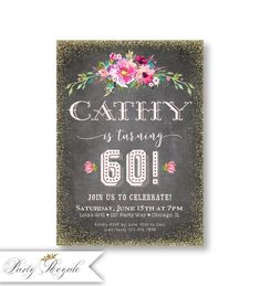 70e brown /& white Bling Sparkle birthday party invitations personnalisées